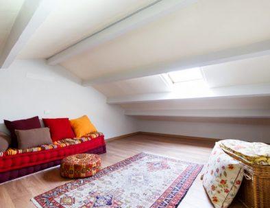 Loft under the attic eaves